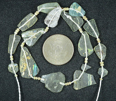 Ancient Roman Glass Beads 1 Medium Strand Aqua And Green 100 -200 Bc 577