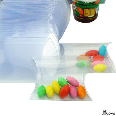 50 PVC Pillow Plastic Snacks Chocolate Sweet Wedding Party Candy Gift Boxes