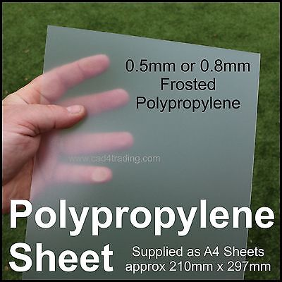 A4 Frosted Opaline Polypropylene Plastic Sheet Binding Art Craft & Model Making