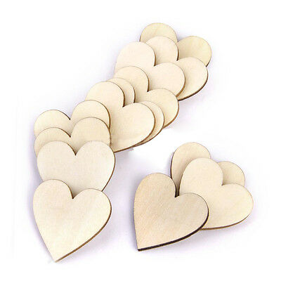 50 Pcs 40mm Blank Plain Wooden Love Heart Shape for Weddings Plaques Art Craft