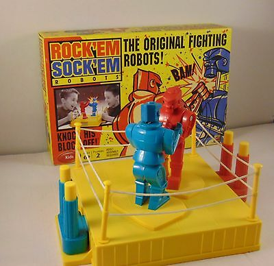Classic Game Rock em Sock em Robots Game Red Rocker and Blue Bomber Fun for Kids