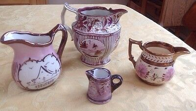 Antique Pink & Copper Lusterware Pitcher Flower Landscape Early