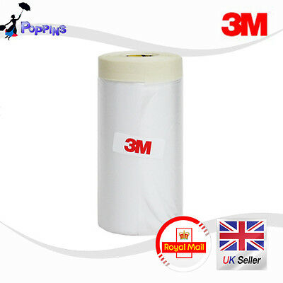 3M 900mm Drop Cover Roll Masking Tape Poly Film Sheet  Pre Folded 20m Roll WHITE
