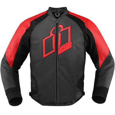 Icon Hypersport Leather Motorcycle Motorbike Jacket - Red