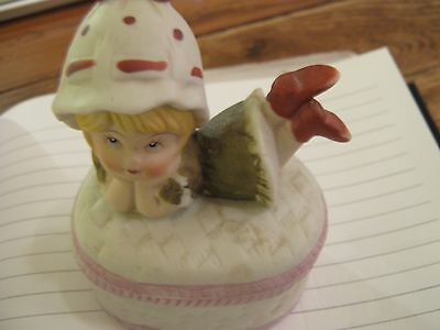 """Trinket Box , Little Girl ,   Ceramic , Price Products , Vintage , 4"""" Tall"""