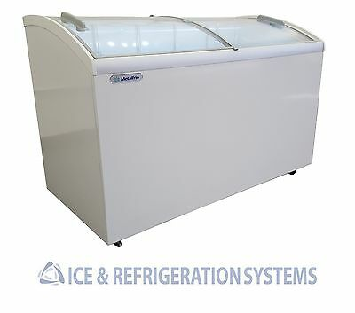 """Metalfrio 52"""" Commercial Curved Top Glass Ice Cream Freezer Chest Msc52"""