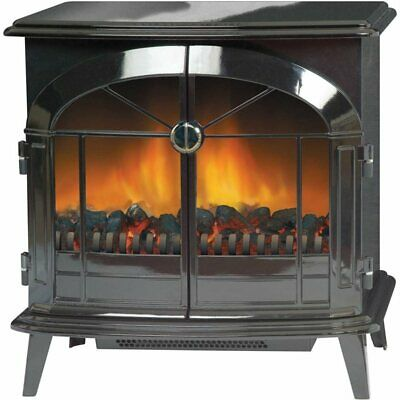Dimplex StockBridge 2kW Electric Stove in Black With Optiflame - Remote Control