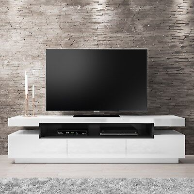 High Gloss White TV Unit with Grey High Gloss Detail  + Media Storage Space