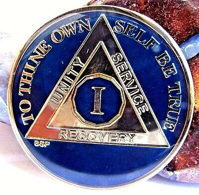 Blue Tri Plate Alcoholics Anonymous  AA 1 Year Medallion Token Chip Coin Sober