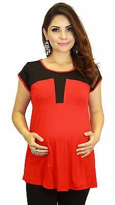 Red Black Geometric Maternity Blouse Womens Pregnancy Pregnant Clothing Twotone