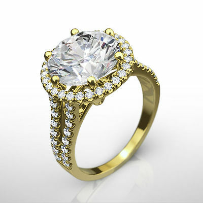 Diamond Ring Halo Round Estate Vs1 D 4.8 Ct 18K Yellow Gold Accented Anniversary