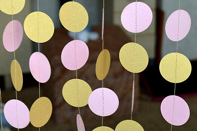 Gold pink circle paper garland Wedding Baby Shower gold party decor 10 ft