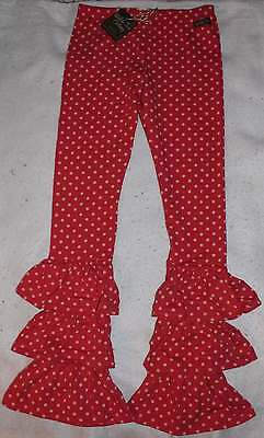 NWT Matilda Jane Friends Forever Red Pink Dot Bennys Leggings Pants 12 Tween