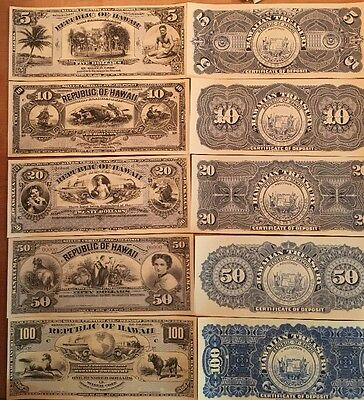 Reproduction  Paper Money 1895 Hawaii Silver  5 Piece Set US Currency Copy Note