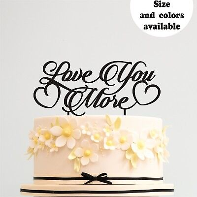 Love You More Gold Wedding Cake Toppers