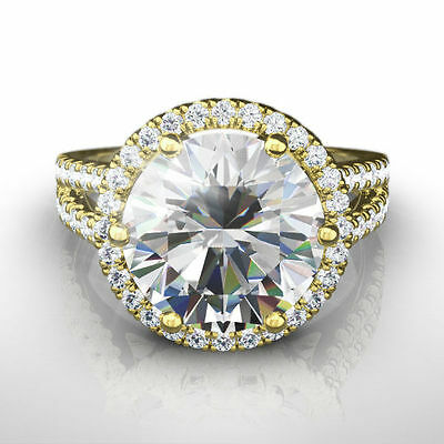 Halo Diamond Ring Round Shape Appraised Si2 3.75 Ct 18K Yellow Gold Estate