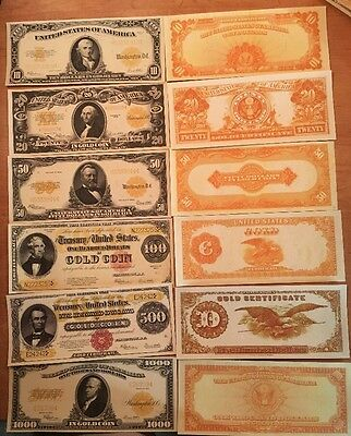 Reproduction  Paper Money 1882 7PC Gold Cert Set US Currency Copy Note
