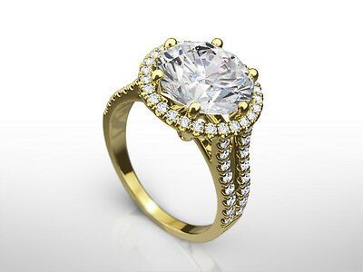 Solitaire W Accents Halo Diamond Ring 3.9 Ct Round Cut Estate 18K Yellow Gold