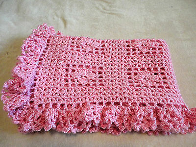 "Gorgeous Pink Crocheted Baby Blanket 31""X43"" With A Ruffled Border"