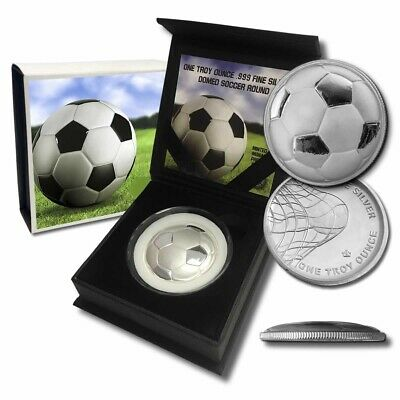 2016 Soccer Ball Curved Domed 3D 1 oz .999 Silver Capsuled BU Round W/Box & COA