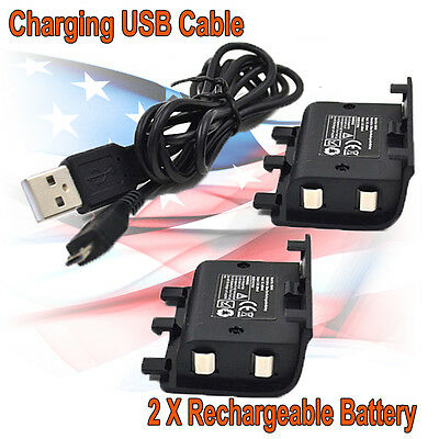 2X 2400mAh Rechargeable Battery Pack Kit Charging Cable For Xbox One Controller