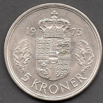 1975 Denmark - 5 Kroner Coin *** Uncirculated Condition *** Key Date