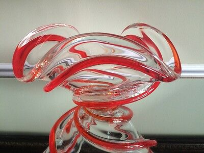 Chalet Glass Red Ribbon Bowl Signed