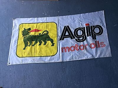 Vintage Original Agip Material Flag / Banner From Years Ago