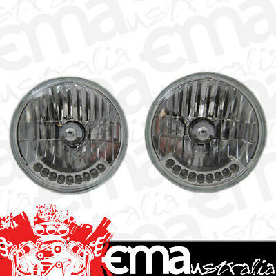 """Rpc 7"""" Round H4 Headlight Assembly Rpcr7420 With 9 Amber Led Turn Signal 1 Pair"""