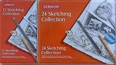 Derwent 12 24 Sketching Collection tin case pencils NEW made in UK