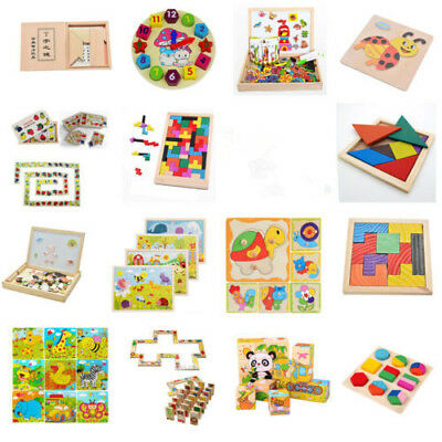 16 Style Children Play Wood Toy Wooden Tangram Brain Teaser Puzzle Tetris Game B