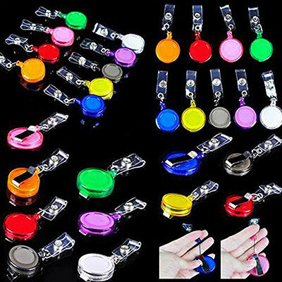 5PC Retractable Holder Badge Lanyard Reel Key Card New ID Name Tag Belt Clip