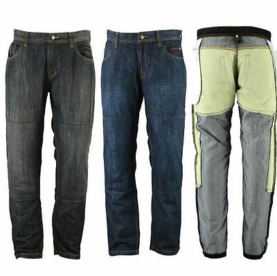 Mens motorbike Motorcycle Denim Trousers Jeans with Protective Lining 2 Lengths