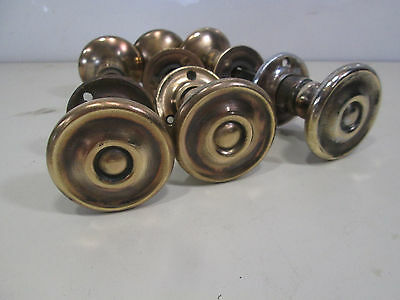3 Vintage Brass Flat Door Knobs- Center Rosette Design