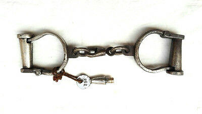 * Old Antique Vintage Handcrafted Heavy Iron Nickel Lock Handcuffs, Collectible*