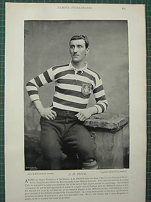 1897 Print Famous Rugby Footballers ~ A. H. Frith Coventry Club