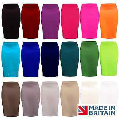 Ladies  PENCIL SKIRT plain Stretch OFFICE Bodycon Midi Fit Size 8-18 UK MADE