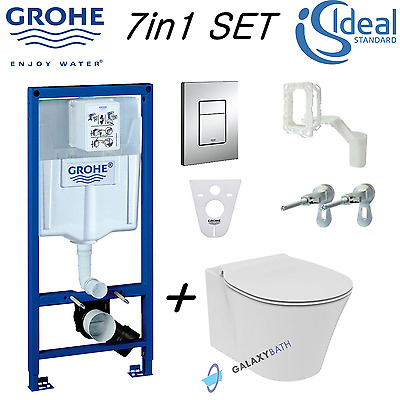 Grohe Rapid Sl Wc Frame + Round Designer Wall Hung Toilet Pan & Soft Close Seat