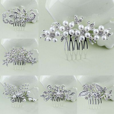 Silver Bridal Floral Hair Combs Diamante Crystal Rhinestone Pearl Wedding Party