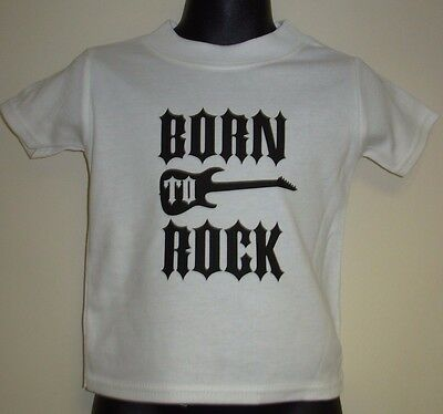 "Boys/Girls Slogan T-Shirt ""BORN TO ROCK""  Black or White Fruit of the Loom"