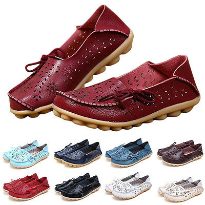 Women Leather Comfort Casual Walk Bowed Flat Shoes Loafers Moccasin Pierced Cute