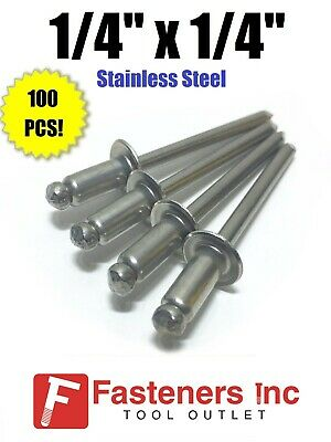 "(QTY 100) POP Rivets ALL Stainless Steel 8-4 1/4"" x 1/4"" Grip Range"