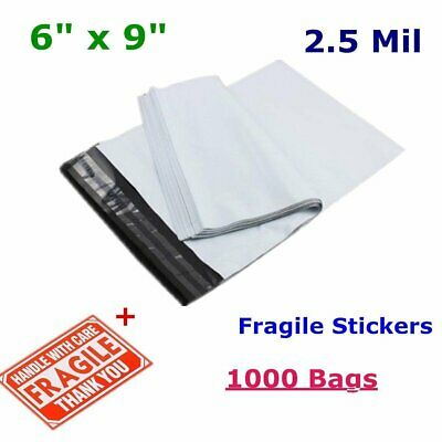 1000 6x9 Poly Mailers Shipping Envelopes Self Sealing White Plastic Bags 2.5 Mil