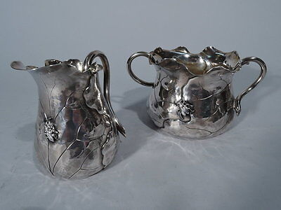 Shiebler Creamer & Sugar with Applied Bugs - 452 - American Sterling Silver