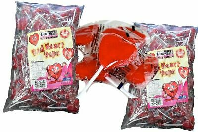 Red Heart Lollipops 100 Pieces Wrapped Bulk Lollies Party Favour Buffet Weddings