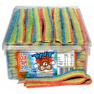 Bulk Lollies 200 x TNT Sour Rain Straps 1.4 kg Belts Party Favour Candy Buffet