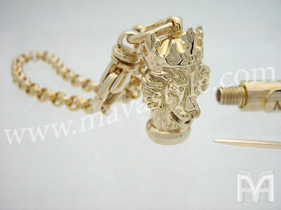 Gold King Lion with Crown Toothpick Holder Tube Box Keychain Key Chain Jewelry