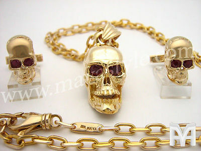 Gold Skull with Ruby Eyes Cuff Links Cufflinks Pendant Rock Rocker Biker Jewelry