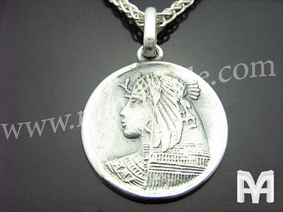 Sterling Silver Ancient Antique Coin Replica Cleopatra Egyptian Queen Pendant