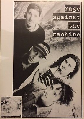 """RAGE AGAINST THE MACHINE RARE 80s GROUP IMPORT POSTER BLACK & WHITE 24""""X34"""" MINT"""